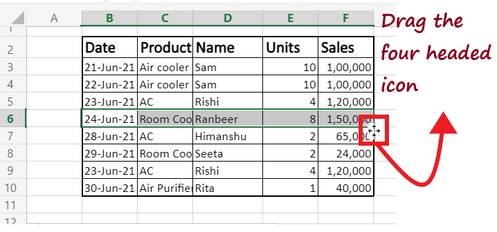 Move data in Excel