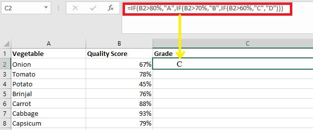 MS Excel Grade Formula