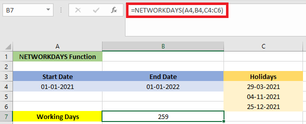 NETWORKDAYS Formula in Excel
