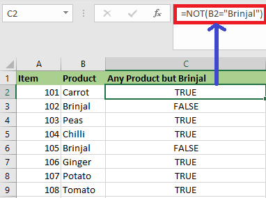 NOT Function in Excel