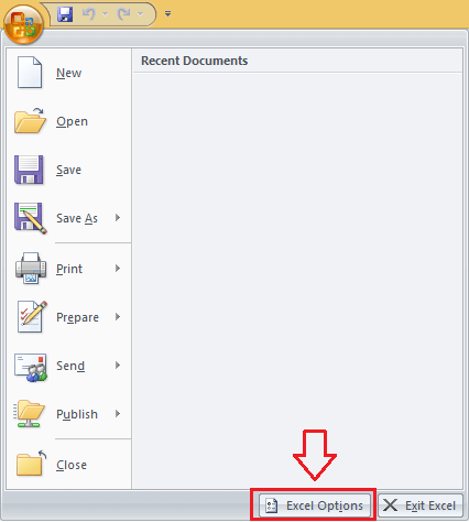 Office Button in Excel