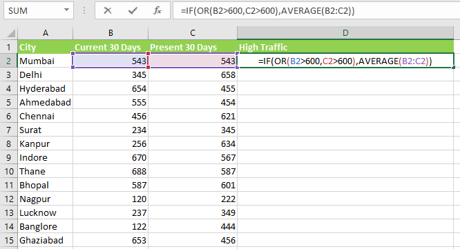 OR Function in Excel
