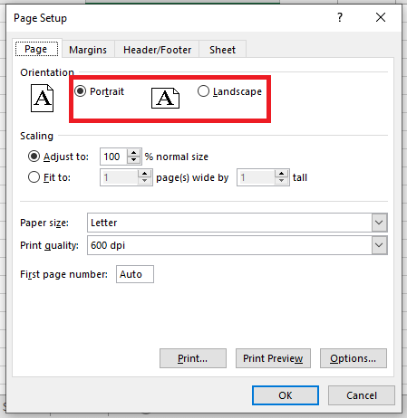 Page Orientation in Excel