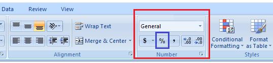 Percentage formula in Excel