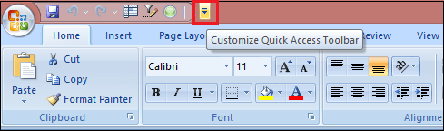 Quick Access Toolbar in Excel