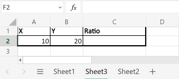 Ratio in Excel