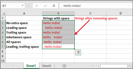 Remove spaces in Excel
