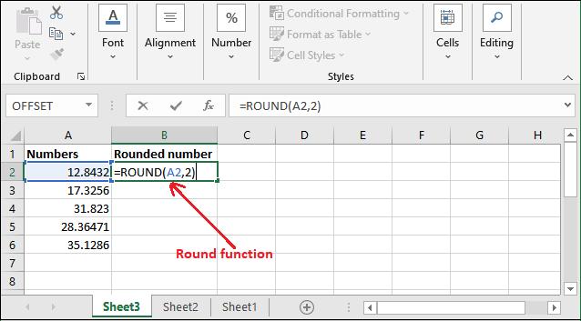 Round formula in Excel