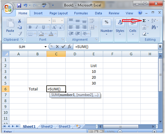 How to do addition using sigma button in Excel