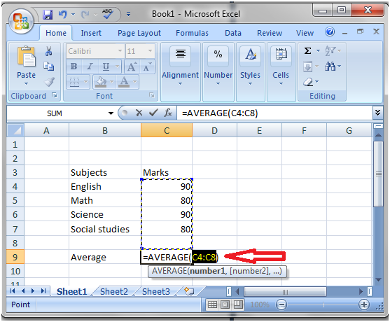 How to calculate average using sigma button in Excel