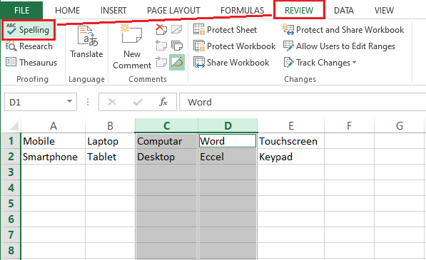 Spell Check in Excel