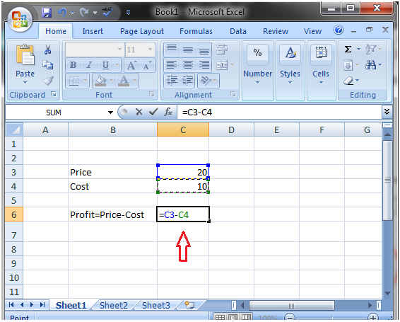 How to do subtraction in Excel