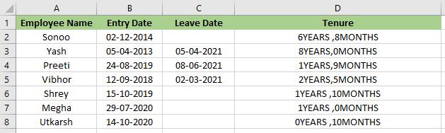Tenure Formula in Excel