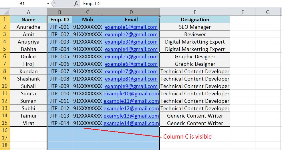 Unhide Shortcut in Excel