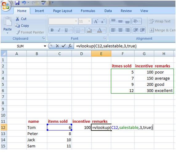 vlookup in Excel 7
