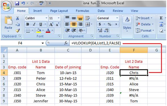 MS Excel: vlookup - javatpoint