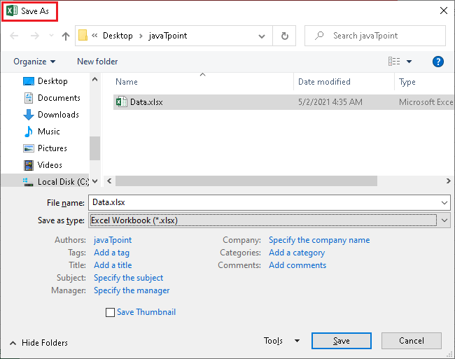 What is the file extension for Excel