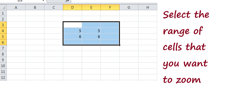 Zoom In/Out in Excel
