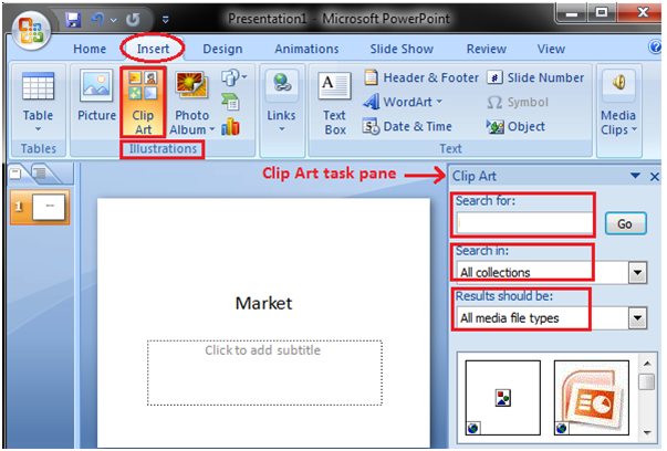 MSpowerpoint How to insert picture and clip art 2