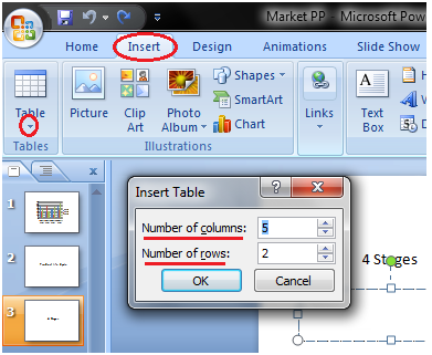 MSpowerpoint How to insert table 2