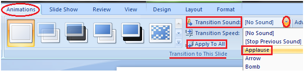 MSpowerpoint How to set slide transition sound 1