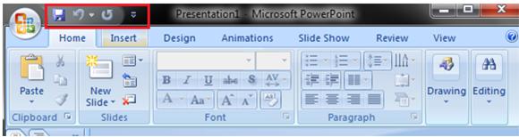MSpowerpoint Quick access toolbar 1