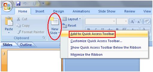 MSpowerpoint Quick access toolbar 3