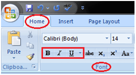 MS Word Bold italic and underline commands in ms word 1