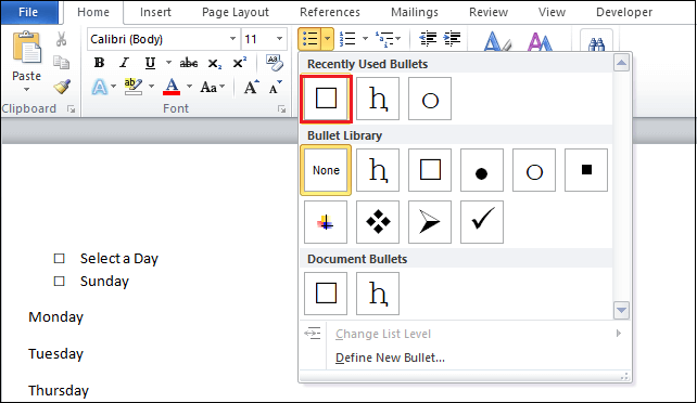 How to add a checkbox in Word