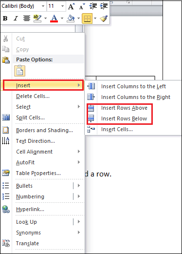 How to add a row and column to a table in Microsoft Word document