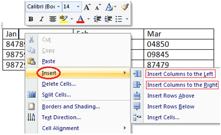 MS Word How to add column in table 1