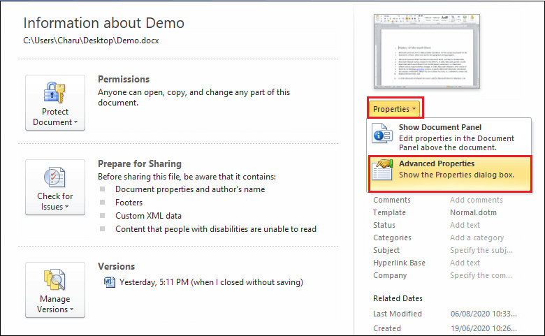 How to add document properties in a Word document