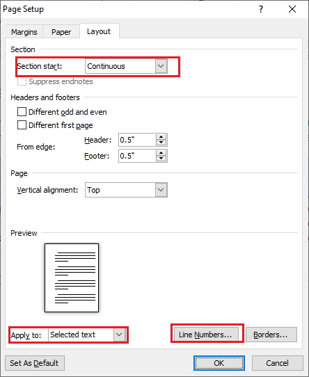 How to add or remove Line numbers in Microsoft Word document