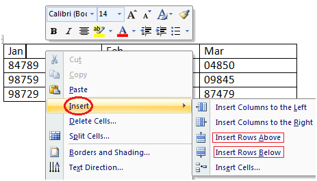 MS Word How to add row in table 1