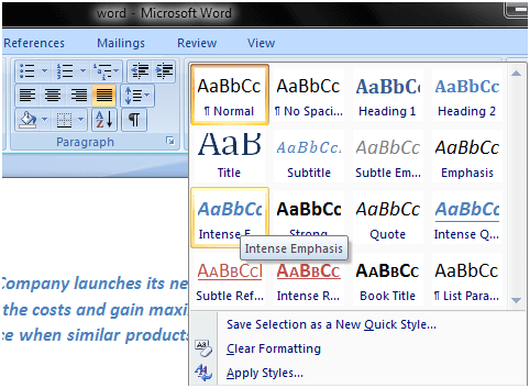 MS Word How to apply style in ms word 2