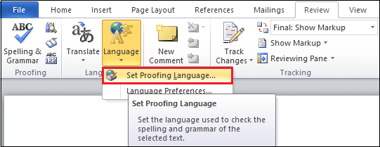 How to change language in Microsoft Word document