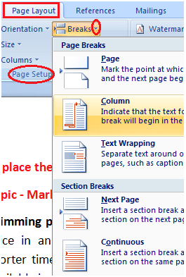 MS Word How to change page break in ms word 1