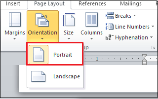 How to change page orientation in Word document