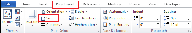 How to change paper size in the Word document
