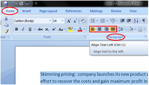MS Word How to change text alignment in ms word 1