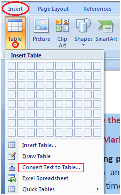 MS Word To convert text to table 1