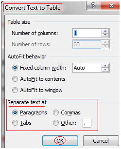 MS Word To convert text to table 2