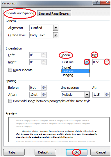 MS Word How to create first line indent in ms word 1