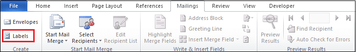 How to create labels in Word