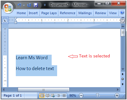 MS Word How to delete text in ms word 1