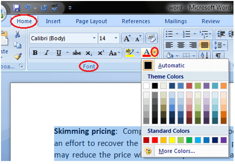 MS Word How to format font color in ms word 1