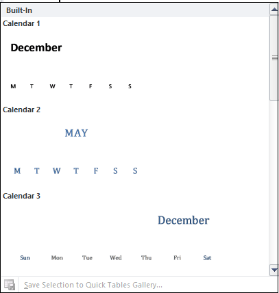 How to insert a calendar in Word document