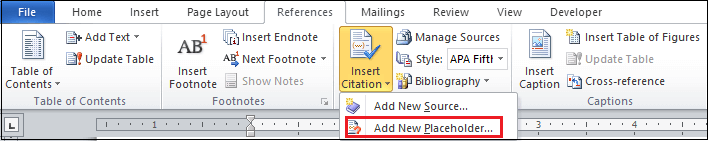 How to Insert a Placeholder in Word document