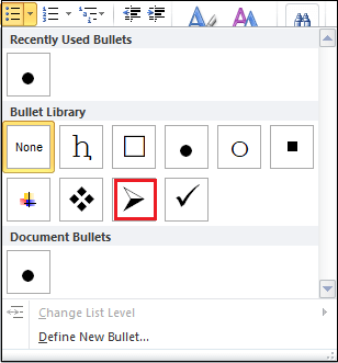How to insert bullet points in Word document