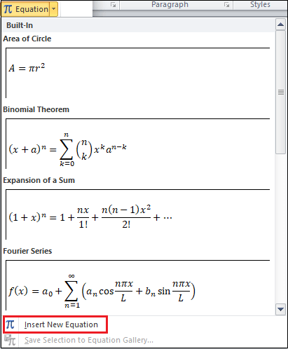 How to insert equations in Word document
